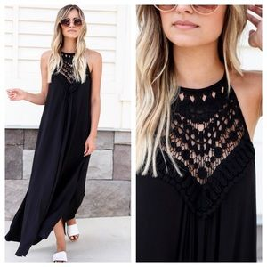 NWT Crochet Bib Neck Slit Long Maxi Dress Black
